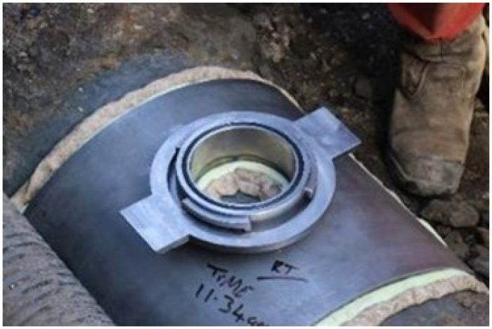 Install steel flange and valve adapter.